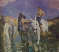 reiter mit pferden am wasser by emanuel hegenbarth