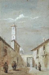 a street scene in brescia, lombardy by david roberts