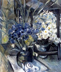 kukka- ja teekannuasetelma (still life with flowers and tea pot) by alex andre avxente
