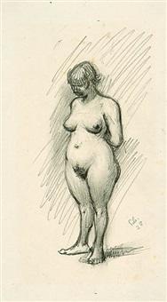 stehender weiblicher akt mit nach unten geneigtem kopf i by georg scholz