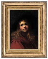 portrait of a young girl in a red coat and black hat by ernest w. appleby