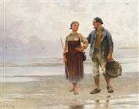 reflections on the beach by august vilhelm nikolaus hagborg