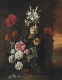 lillies, roses, poppies and chrysanthemums in a vase, landscape beyond by simon pietersz verelst