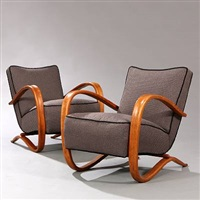 easy chairs (model h-269) (pair) by jindrich halabala