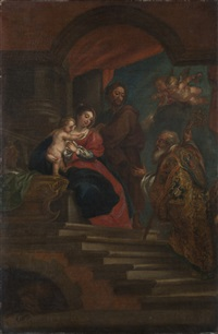 bottega di sacra famiglia con sacro vescovo by abraham van diepenbeeck