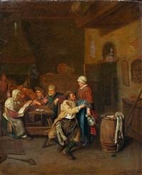 wirtshausszene mit musizierender gesellschaft an einem tisch und einem schäkernden paar im vordergrund by egbert van heemskerck the younger