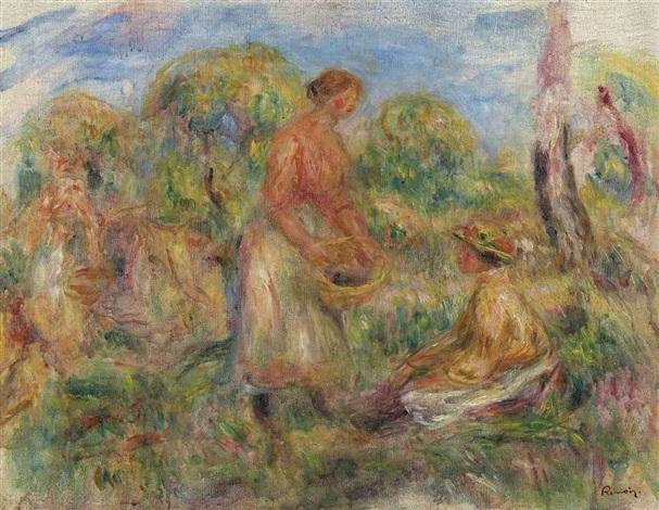 femmes dans un paysage by pierre auguste renoir