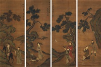 八仙图 (eight immortals) (set of 4) by zhou xun