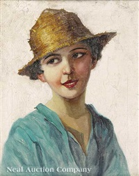 portrait of young neapolitain girl by adolf j. (jelinek) alex