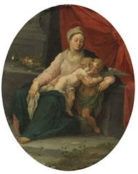 madonna mit dem jesusknaben und einem engel by hans rottenhammer the elder