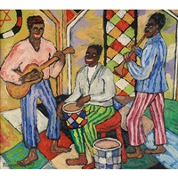 jazz concert in the old synagogue, lower east side, new york by beauford delaney