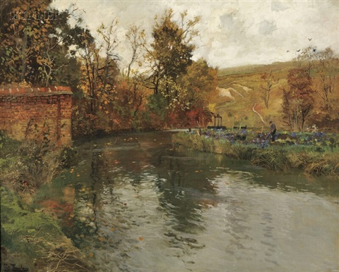 autumn river scene netherlands or belgium by frits thaulow