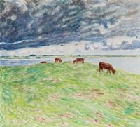 grazing cows by sigurd swane