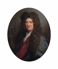 portrait of a gentleman, possibly louis xiv (1638-1715), bust-length, in a blue embroidered coat by hyacinthe rigaud