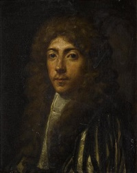 portrait of a gentleman in a yellow and black silk mantel and a white chemise by anglo-flemish school (18)