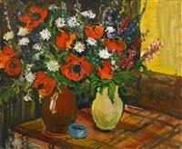 zwei vasen mit sommerblumen by friedrich einhoff