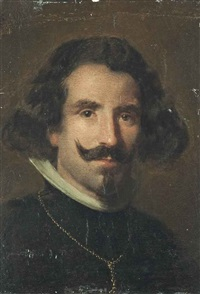 portrait of diego velázquez (1599-1660), bust-length, in a black coat with a gold chain by diego rodríguez de silva y velásquez