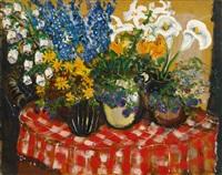 sommerblumen in vier vasen by friedrich einhoff