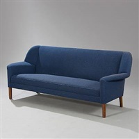 freestanding three seater sofa (model 51-bml) by ejnar larsen and aksel bender madsen