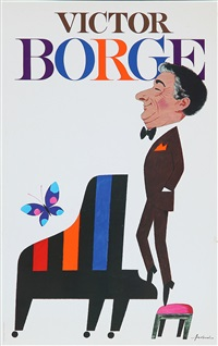 victor borge (two sketches for poster and color offset poster; 3 works) by ib antoni