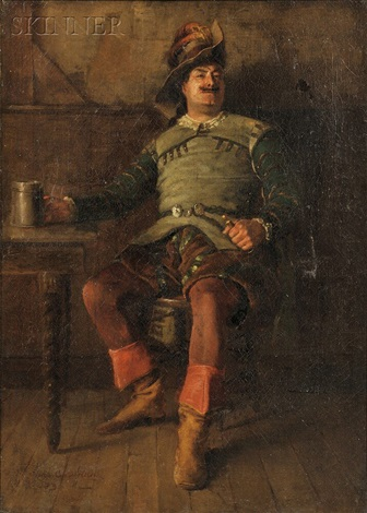 portrait of a man with a stein by charles courtney curran