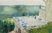 terrasse mit reh am sommerberg-hotel bei wildbad by max slevogt