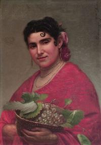 mujer con cesto de uvas by domingo garcia diaz