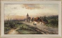 landschaft mit entlang einer straße gelegenen gehöften by nicolai von astudin