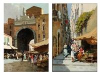 markttreiben vor einem stadttor einer italienischen stadt sowie marktstände mit passanten in einer engen italienischen stadtstrasse mit ansteigenden treppen by a. pasini