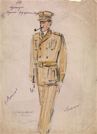 costume design for maccormick from the operetta shumit sredizemnoe more by aleksandr grigor'evich tyshler