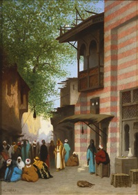 a street scene, north africa by charles théodore (frère bey) frère