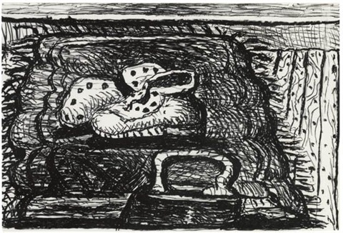 rug from cartoon paintings by philip guston