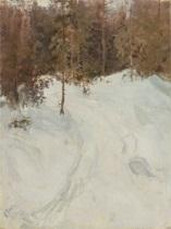 skogslandskap i vinterskrud by vassilij filippovich levi