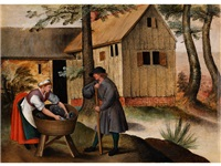 gänsehirte und bäuerin by pieter brueghel the younger