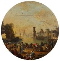 marine, idealtypische ansicht eines hafens mit zahlreichen figuren im vordergrund by henri-joseph van blarenberghe