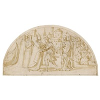 a bishop greeting a king and his followers (design for a lunette) by lazzaro tavarone