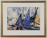 boats in a harbor (concarneau, france?) by thornton oakley