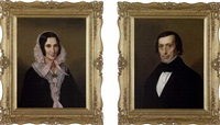portrait oga lady (+ portrait of a gentleman; pair) by anglo-american school (19)