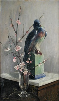 gilbert bayes's pigeon with almond blossom by mary georgina barton