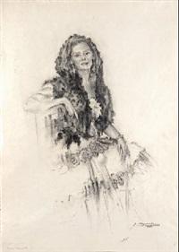 mujer con mantilla by josé (josep) aguilera martí