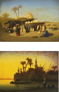 the market place and along the nile: a pair by charles théodore (frère bey) frère