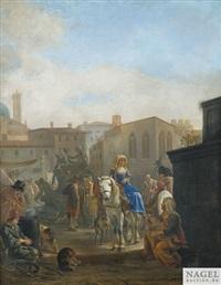 reges markttreiben auf einem italienischen platz by johannes lingelbach
