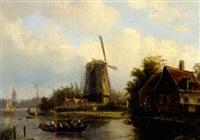 flusslandschaft mit übersetzenden booten, windmühle und malerischem gehöft by willem vester