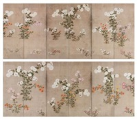 chrysanthemums screens (pair) by japanese school-sotatsu (17)