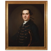 portrait of a gentleman in a blue coat with gold trim (john swift?) by john wollaston