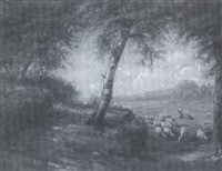 landscape with sheep by franklin c. courter