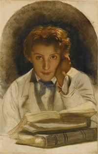 portrait of joseph-carle-paul-horace delaroche, son of the artist, half length with a pile of books by paul hippolyte delaroche