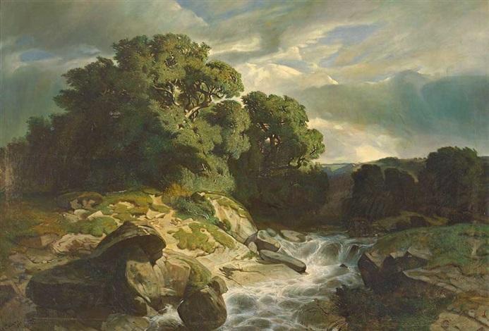 wildbach mit malerischer baumgruppe bei abziehendem gewitter by alexandre calame