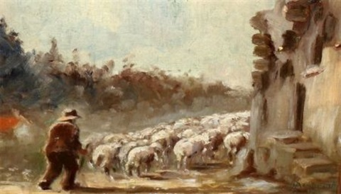 herder with sheep by bruno azimonti