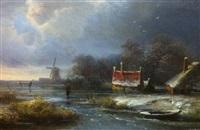 paysage animé au bord d'un cours d'eau by pieter lodewijk francisco kluyver